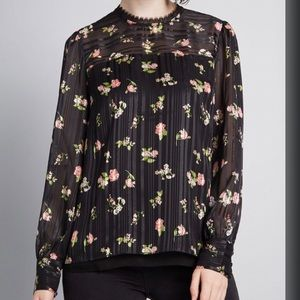 Modcloth Black Sheer Floral Blouse